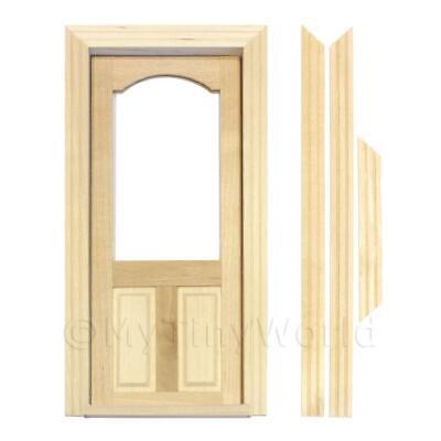 Casa de Muñecas Decorativos Madera Puerta Con Vidriado Superior Panel