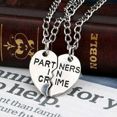2pcs Partners in Crime Pendant Necklace Best Friend Friendship Couple Lover USA