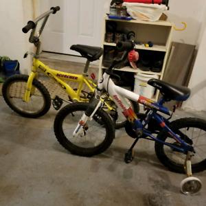 """2 kids size bike 16"""" wheels (training wheels included)"""
