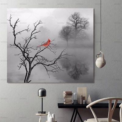 Abstract Tree Bird Canvas Painting Wall Art Picture For Living Room Home Decor