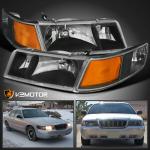 1998-2002 Mercury Grand Marquis Black Headlights+Corner Signal Lamps Lights 4PC