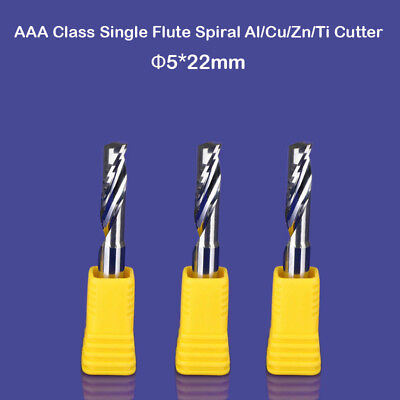 3pc Aluminum End Milling Cutter Single Flute Cnc Router Cutting Bit 5mm 22mm