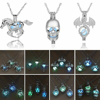Charm Glow In The Dark Horse Skull Head Pendant Necklace Luminous Women Jewelry