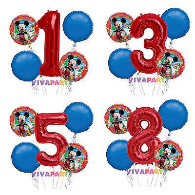 Mickey Mouse 1-9 Birthday Balloon Bouquet 5 pcs Boys Birthday Party - Mickey Mouse 1 Birthday