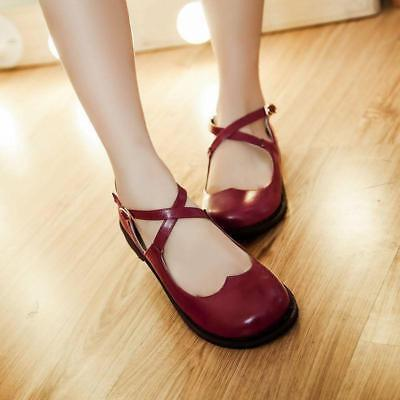 Mary Jane Damen flache Schuhe Mädchen Rimen Loafer Sandalen Party Lolita Slipper ()