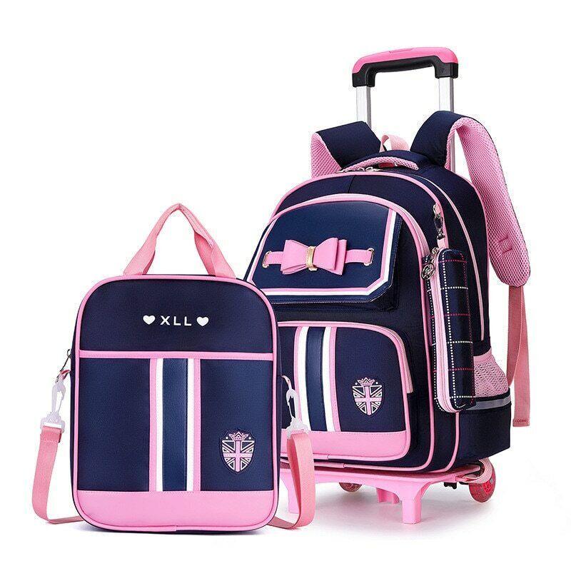 Waterproof Removable School Bags 2 Wheels Stairs Trolley Book Girls Backpack Backpacks & Bags