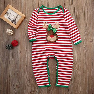 US Newborn Infant Baby Boy Girl Christmas Romper Bodysuit  Pajama Clothes Outfit](Christmas Girl Outfit)