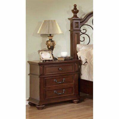 Furniture of America Eason 3 Drawer Nightstand in Antique Dark Oak for sale  Sterling