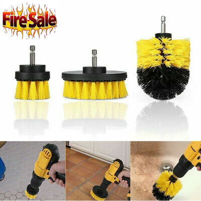 3PCS Electric Bristle Drill Brush tire bath Tub Rotary Cleaning Tool Set v2s US Bristle Cleaning Brush
