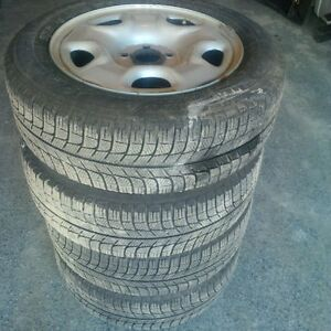 Set of Michelin X Ice X3 Snow Tires on Rims