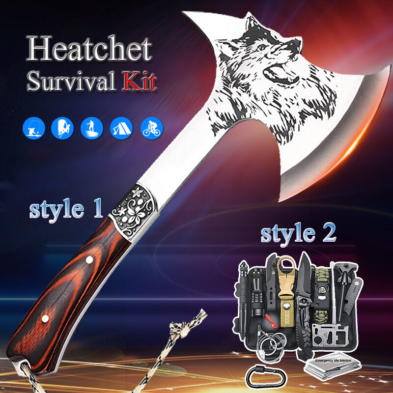 Camping Axe Military Tomahawk Hunting Tactical Hatchet Survival Gear Kit Tool