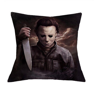 Michael Myers Custom Cotton Linen Throw Pillow Case Halloween Decor ()
