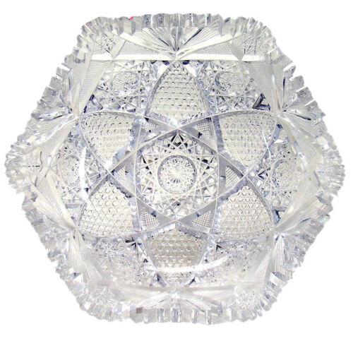 American Brilliant Period Cut Glass Bowl Signed J. Hoare