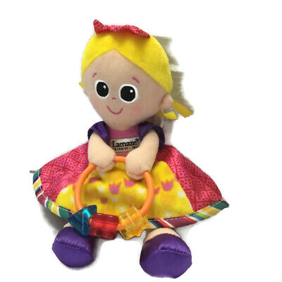 Lamaze Plush Girl Doll Crinkle Rattle Toy Pink Dress Security Lovey