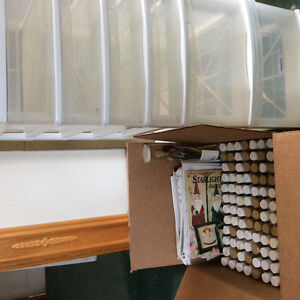 Assorted tole paints, brushes and storage unit