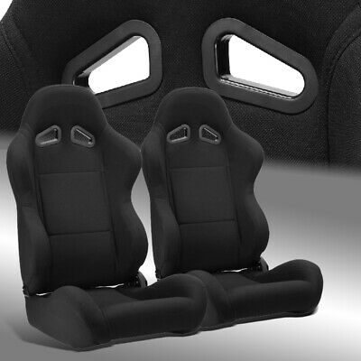 2 x Reclinable Black Pineapple Fabric Left/Right Racing Bucket Seats Sliders Black Racing Seats
