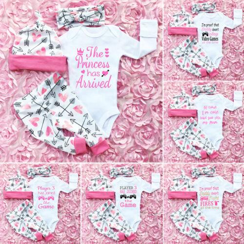 US Newborn Toddler Baby Girls Clothes Romper Jumpsuit Bodysu