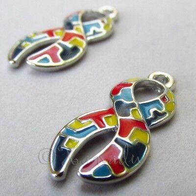 Autism Awareness Ribbon Wholesale Enamel Charm Pendants C5252- 2, 5 Or 10PCs (Autism Charms)