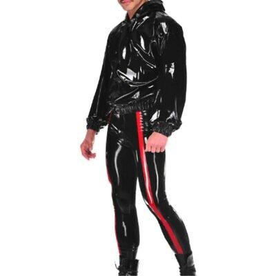 Latex Gummi Bodysuit  Latexanzug Uniform Kostüm Schwarz Shiny 0.4mm Size - Schwarzen Latex Anzug Kostüm