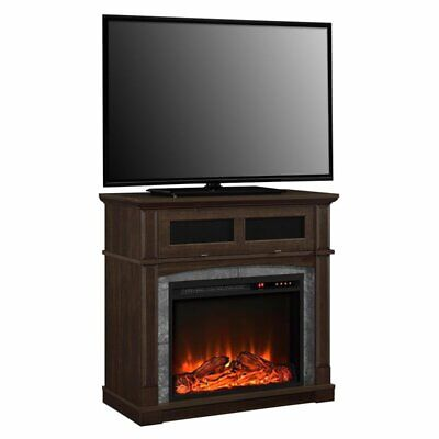 "Ameriwood Home Thompson 37"" Fireplace TV Stand in Cherry"