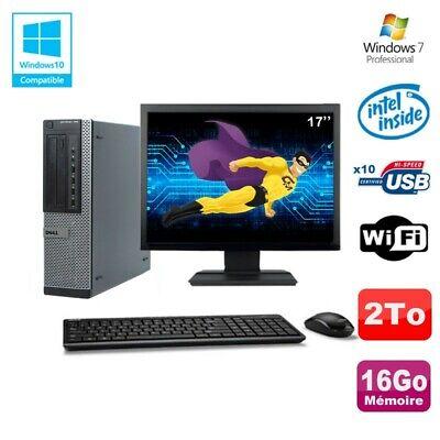 Lot PC Dell 790 DT G630 2.7Ghz 16Go Disque 2000Go DVD WIFI Win 7 + Ecran 17