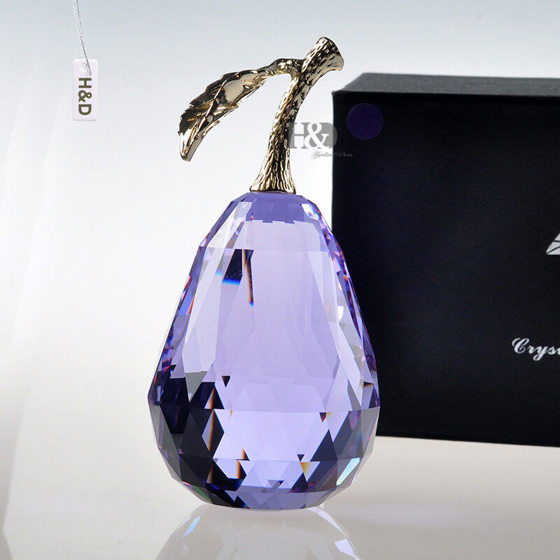 Light Purple Gold Metal Crystal Pear Paperweight Ornament