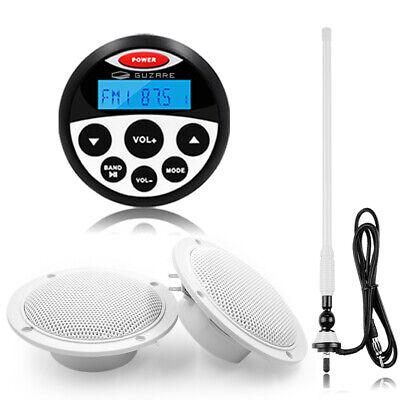 Marine Audio Radio Bluetooth Stereo Receiver og vandtætte højttalere og antenne