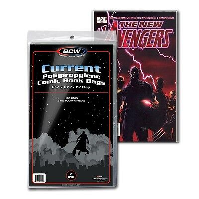 (100) BCW Current Clear Comic Book Bags / Sleeves