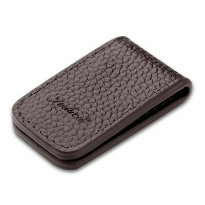 Zodaca Genuine Leather Magnetic Money Clip, Brown