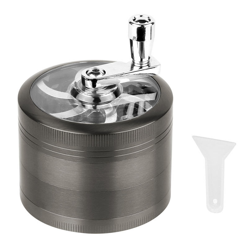 4 Piece Magnetic 2.5 Inch Grey Tobacco Herb Grinder Spice Zinc Alloy With Scoop