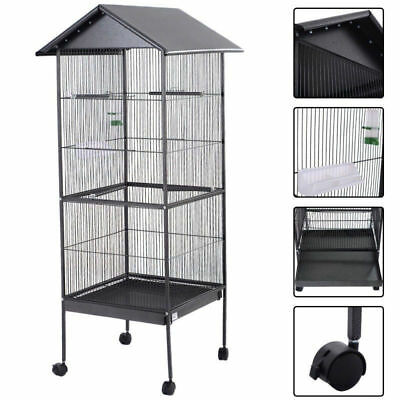 Large Parrot Bird Cage Play Top Pet Metal Cockatiel Macaw Crate House
