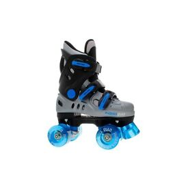 Phoenix blue and silver quad roller skates. Comes with box, super boys skates