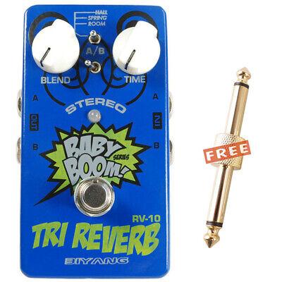 Biyang RV-10 Babyboom TRI REVERB Stereo Guitar Effect Pedal & Coupler Connector