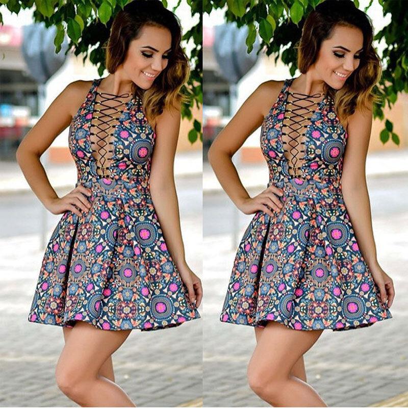 Dress - NEW Women Summer Casual Sleeveless Evening Party Cocktail Dress Short Mini Dress