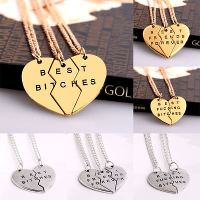 Best Bitches Forever Chain Pendant Necklace Gifts BFF Broken Heart Best