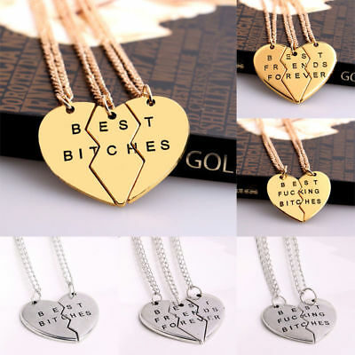 Best Bitches Forever Chain Pendant Necklace Gifts BFF Broken Heart Best - Best Friends Forever Necklaces