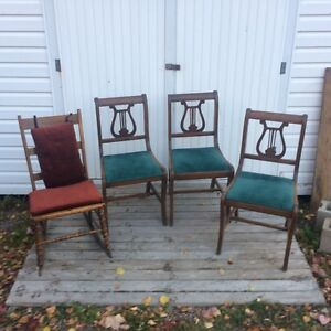 Dining chairs (vintage) rocking chair (antique)