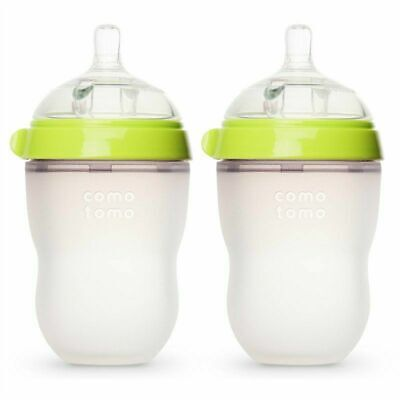 Comotomo Baby Bottle, Green/Pink, 8 Ounce (2 Count) NEW IN BOX