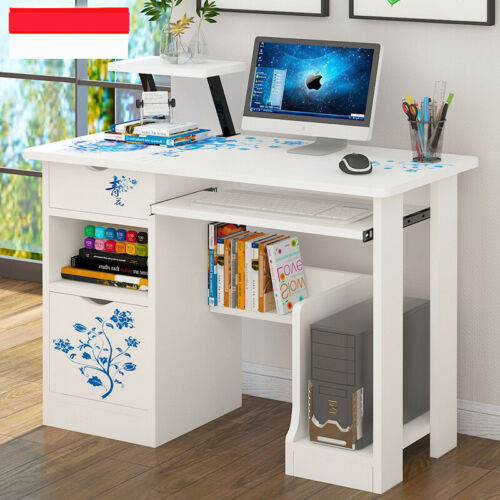 New Computer Desk with Drawers Storage Shelf Keyboard Tray Laptop Table White US