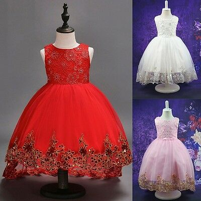 Pretty Kids Baby Girl Lace Dress Floral Tulle Tutu Party Formal Dress For 2-12Y (Pretty Dresses For Girls Kids)