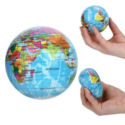 World Map Earth Globe Squeeze Foam Ball Hand Wrist Exercise Stress Bouncy (World Relief Map)