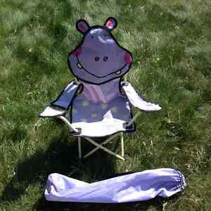 NEW!! Cute Hippo Folding Camping Chair with Cup Holder & Bag Strathcona County Edmonton Area image 1