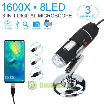 1000x1600x 8 Led Usb Zoom Digital Microscope Hand Held Biological Endoscope New