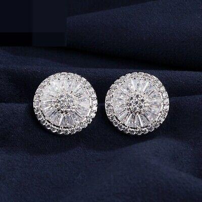 925 Sterling Silver Baguette Diamond Halo Stud Earrings