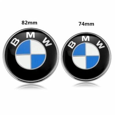 2PCS Front Hood & Rear Trunk (82mm & 74mm) ORIGINAL BMW Badge Emblem