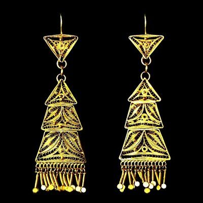 Ultra long ultra ornate solid gold filigree dangle earrings Mexican antique M-F