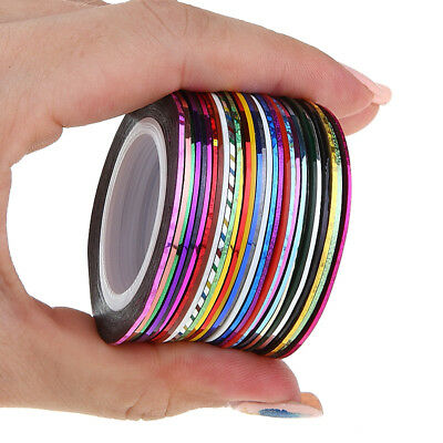 30 rolls Nail Art 1mm Adhesive Striping Tape Line Decals Sticker Decoration, used for sale  China