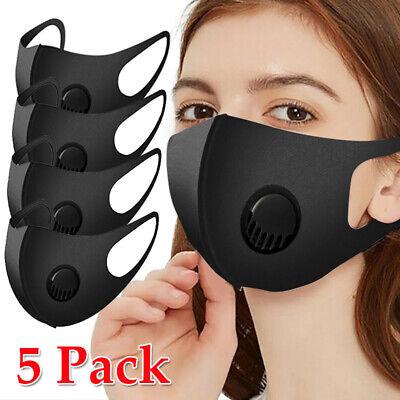 5x Mundmasken Mit Ventil Maske Sportmaske Mund Nasen-Schutz Stoffmaske Waschbar