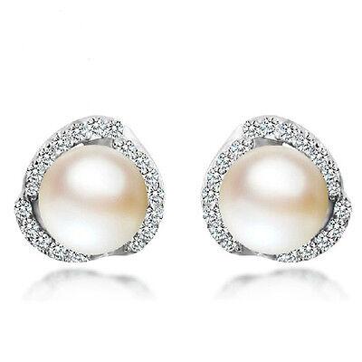 Women Jewelry Elegant 925 Sterling Silver Crystal Ear Stud Cute Pearl Earrings