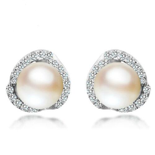 Earrings - Women Jewelry Elegant 925 Sterling Silver Crystal Ear Stud Cute Pearl Earrings